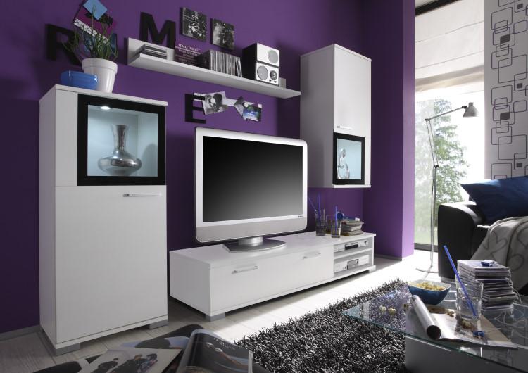 Wohnwand live tv hifi wand 4tlg glas schrankwand for Tv schrankwand design