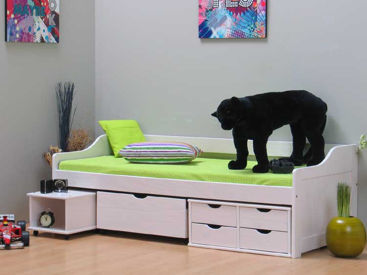 bett kojenbett 90x200 schubladenbett kiefer massiv neu ebay. Black Bedroom Furniture Sets. Home Design Ideas