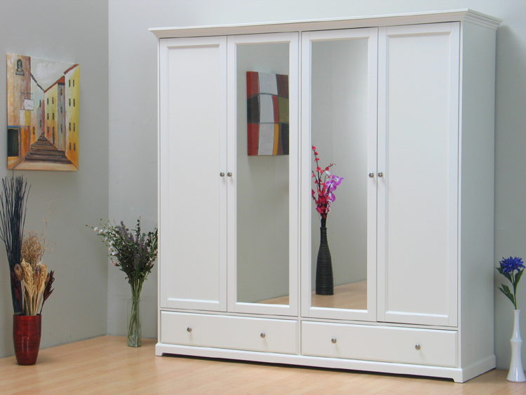 Kleiderschrank nice schrank 4 trg mit spiegel weiss neu ebay - Schrank mit spiegel ...