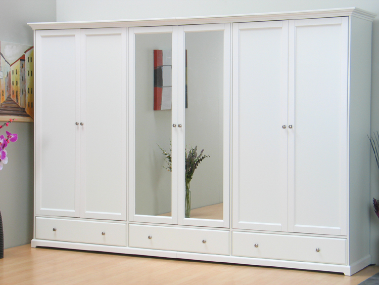 nice kleiderschrank schrank 6 trg mit spiegel weiss neu ebay. Black Bedroom Furniture Sets. Home Design Ideas
