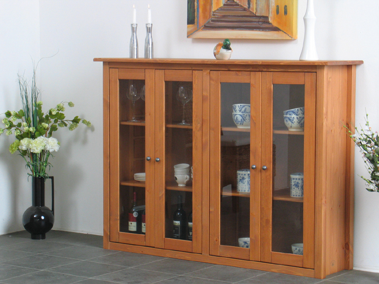 vitrine mayflower cognac lackiert massiv kiefer sideboard glasvitrine neu ebay. Black Bedroom Furniture Sets. Home Design Ideas