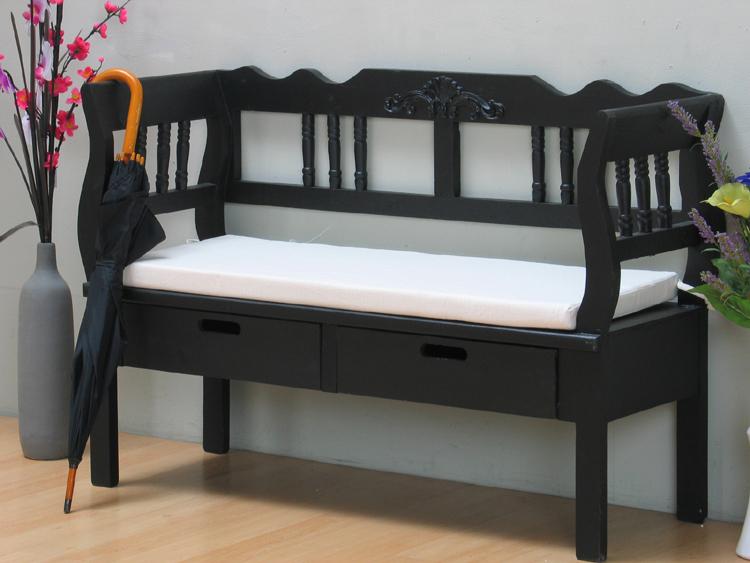 sitzbank baham schwarz 120cm bank massiv mit schublade holzbank antik look. Black Bedroom Furniture Sets. Home Design Ideas