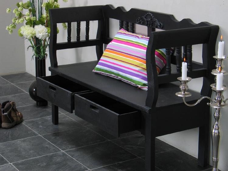 sitzbank baham schwarz 120cm bank massiv mit schublade holzbank antik look ebay. Black Bedroom Furniture Sets. Home Design Ideas
