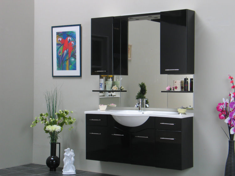 badezimmer m bel set apollo bad schrank waschbecken spiegel schwarz hochglanz ebay. Black Bedroom Furniture Sets. Home Design Ideas