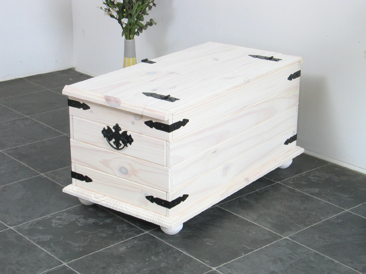 mexico truhe tex weiss kiefer massiv kiste box holzkiste holz sitztruhe neu ebay. Black Bedroom Furniture Sets. Home Design Ideas