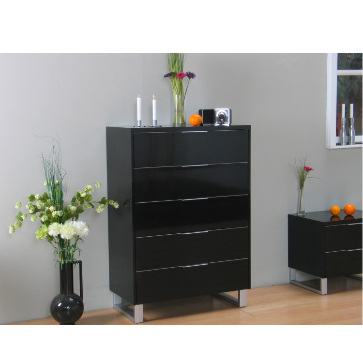 toronto kommode 5 schubladen schrank sideboard hochglanz schwarz lackiert ebay. Black Bedroom Furniture Sets. Home Design Ideas