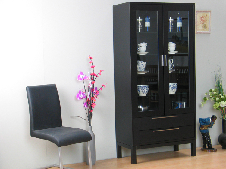 vitrine sirius highboard anrichte massiv holz schwarz. Black Bedroom Furniture Sets. Home Design Ideas