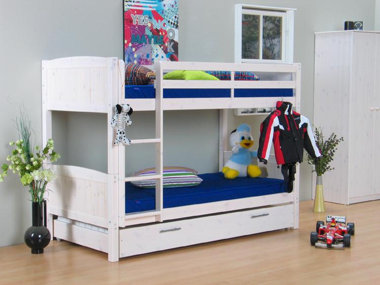 etagenbett 90x190 hochbett bett kiefer massiv wei neu ebay. Black Bedroom Furniture Sets. Home Design Ideas