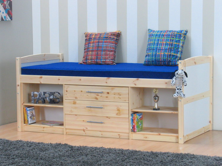 thuka kinderbett 90x190 regal schubladen jugendbett hochbett bett massiv ebay. Black Bedroom Furniture Sets. Home Design Ideas