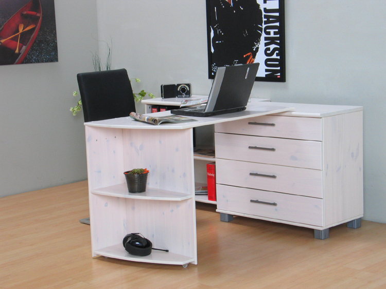 Schreibtisch Kommode Regal Massiv Kiefer Weiß Neu