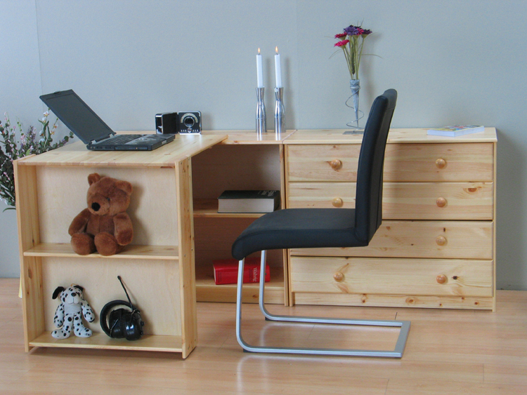 schreibtisch flexi kommode regal massiv kiefer neu ebay. Black Bedroom Furniture Sets. Home Design Ideas