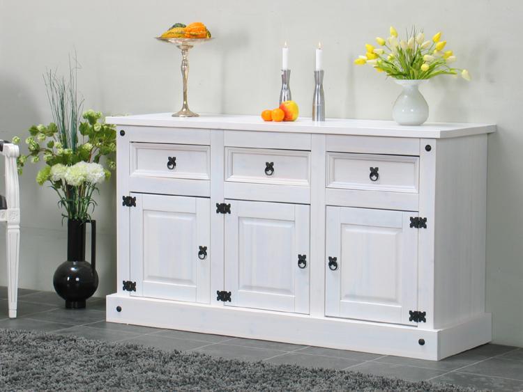 sideboard mexico miguel kiefer massiv wei lowboard anrichte kommode neu ebay. Black Bedroom Furniture Sets. Home Design Ideas