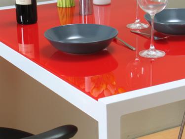 Tisch k chentisch esstisch 110cm weiss rot lackiert neu ebay for Design tisch rot