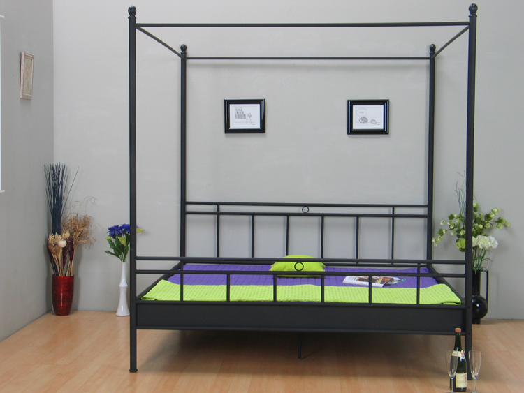 metal bed canopy bed 140x200 louise black double bed double bed new ebay. Black Bedroom Furniture Sets. Home Design Ideas
