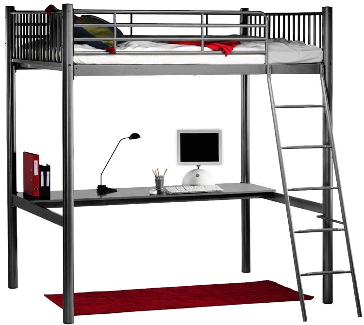 Hochbett Bett 140x190 Schreibtisch Metall Grau Neu Ebay