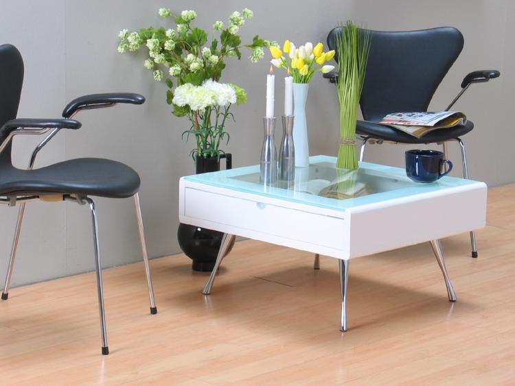 Glastisch Tisch Rimini Couchtisch weiß Schublade Neu  eBay