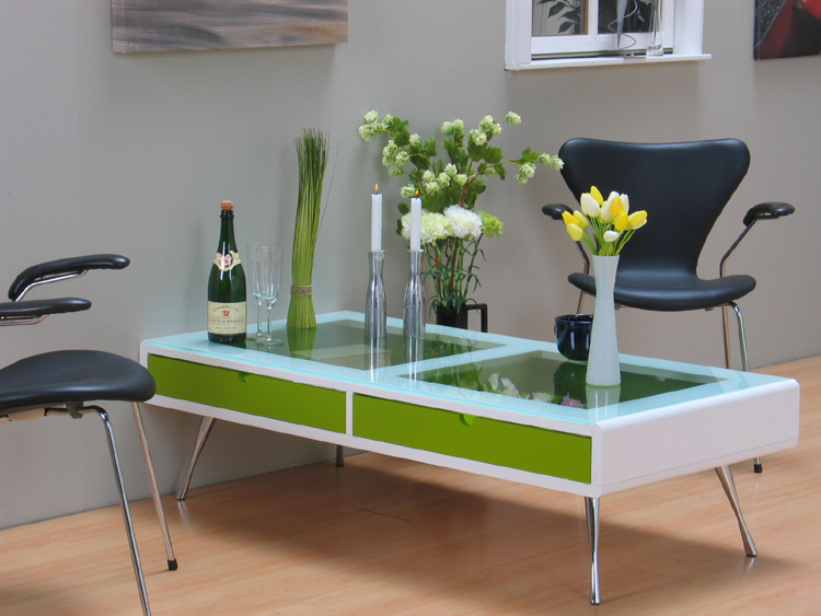 xl couchtisch rimini tisch wei gr n glas 2x schubladen ebay. Black Bedroom Furniture Sets. Home Design Ideas