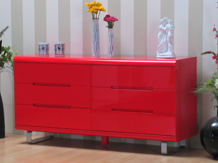 kommode spacy hochglanz rot schubladen schrank sideboard. Black Bedroom Furniture Sets. Home Design Ideas