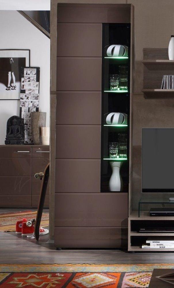 vitrine wohnzimmer schrank john trend mit led beleuchtung hochglanz braun m bel wohnen. Black Bedroom Furniture Sets. Home Design Ideas