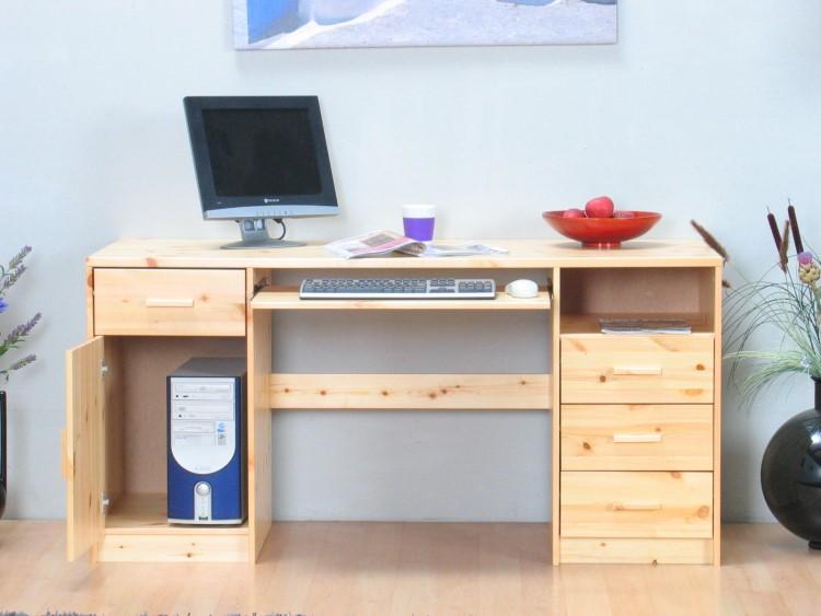 B ro tisch kos 4 schubladen t r kiefer schreibtisch for Schreibtisch ohne schubladen
