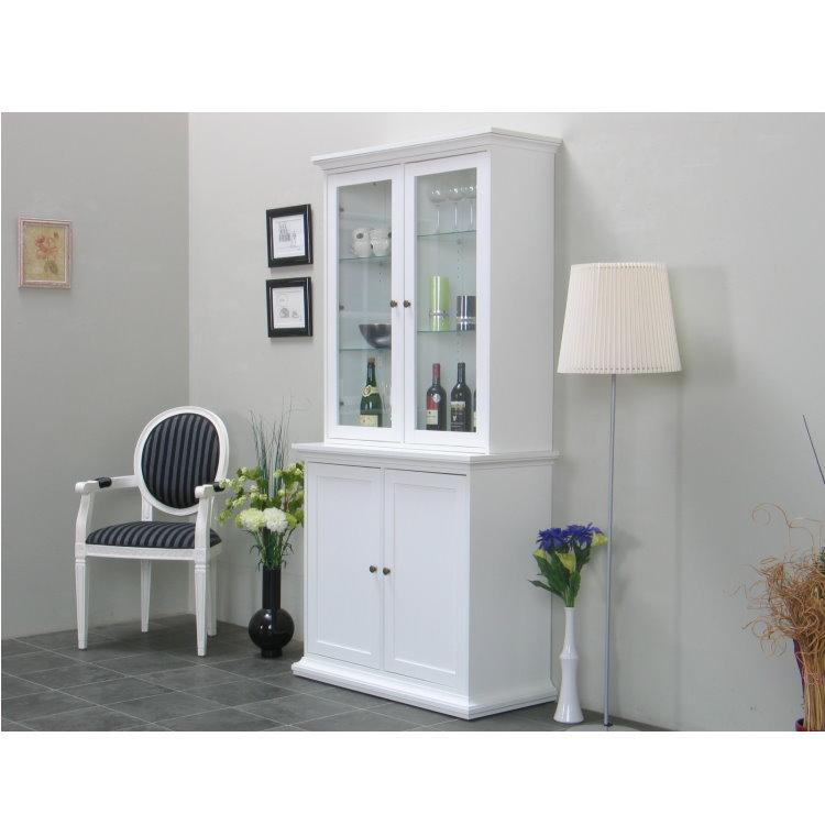 vitrinenschrank paris glas vitrine aufsatzbuffet buffet landhaus wei ebay. Black Bedroom Furniture Sets. Home Design Ideas
