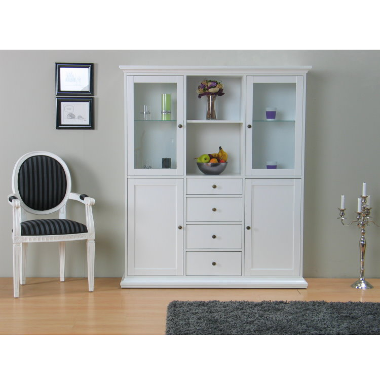 vitrinenschrank paris glas vitrine buffet aufsatzbuffet wei ebay. Black Bedroom Furniture Sets. Home Design Ideas