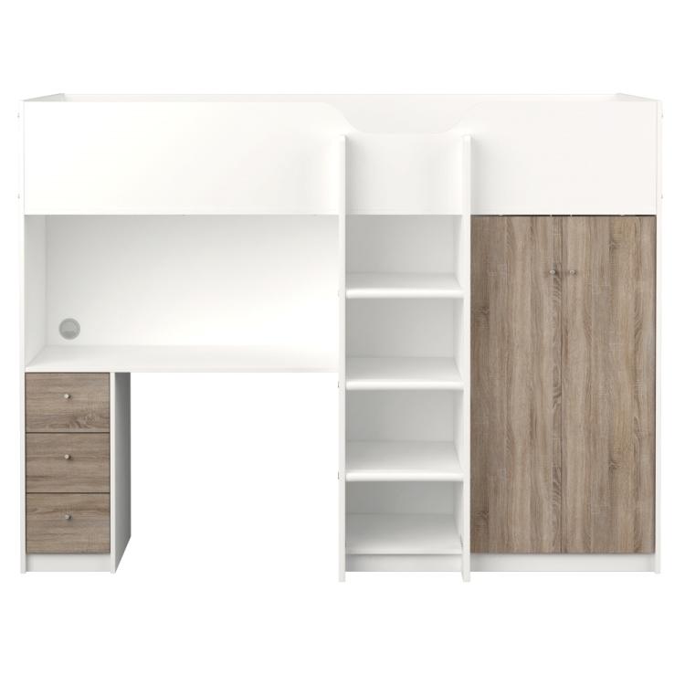etagenbett irma 90x200 mit schreibtisch und schrank wei tr ffel m bel wohnen betten. Black Bedroom Furniture Sets. Home Design Ideas