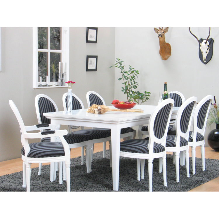 ... Esszimmertisch Esstisch Tisch Erweiterbar Rokoko massiv weiß eBay