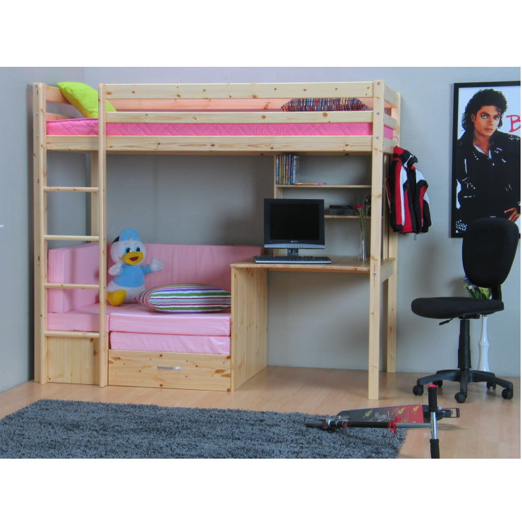 hochbett 90x200 thuka kiefer massiv bett kinderbett g stebett schreibtisch. Black Bedroom Furniture Sets. Home Design Ideas