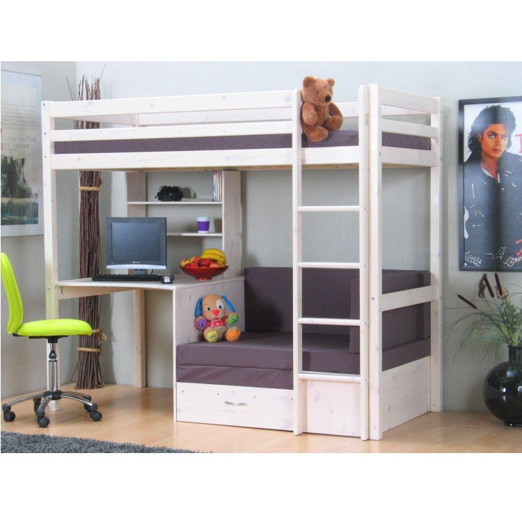 thuka hochbett 90x200 kiefer massiv bett kinderbett g stebett schreibtisch ebay. Black Bedroom Furniture Sets. Home Design Ideas