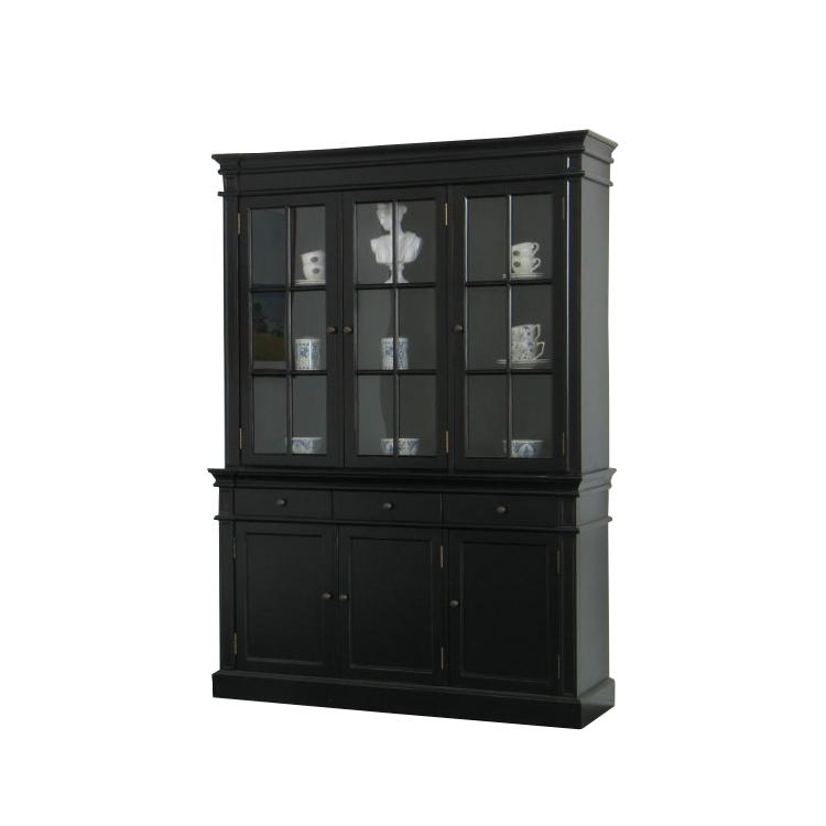 vitrinenschrank amaretta glas vitrine aufsatzbuffet buffet schwarz patiniert kaufen bei. Black Bedroom Furniture Sets. Home Design Ideas