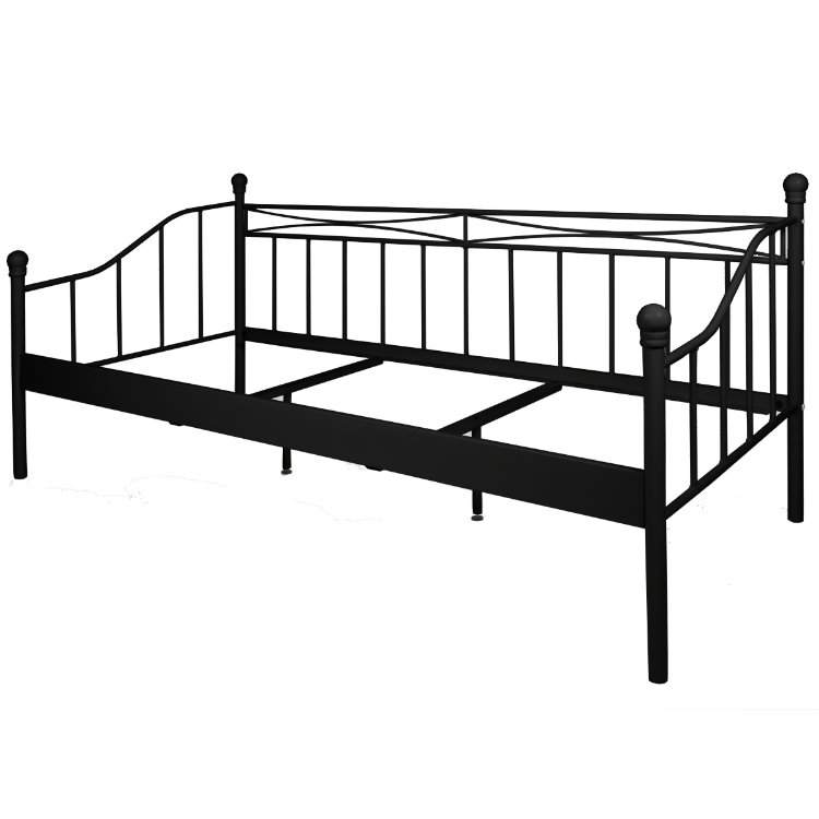 pkline metallbett schwarz 90x200 bett jugendbett kinderbett ebay. Black Bedroom Furniture Sets. Home Design Ideas