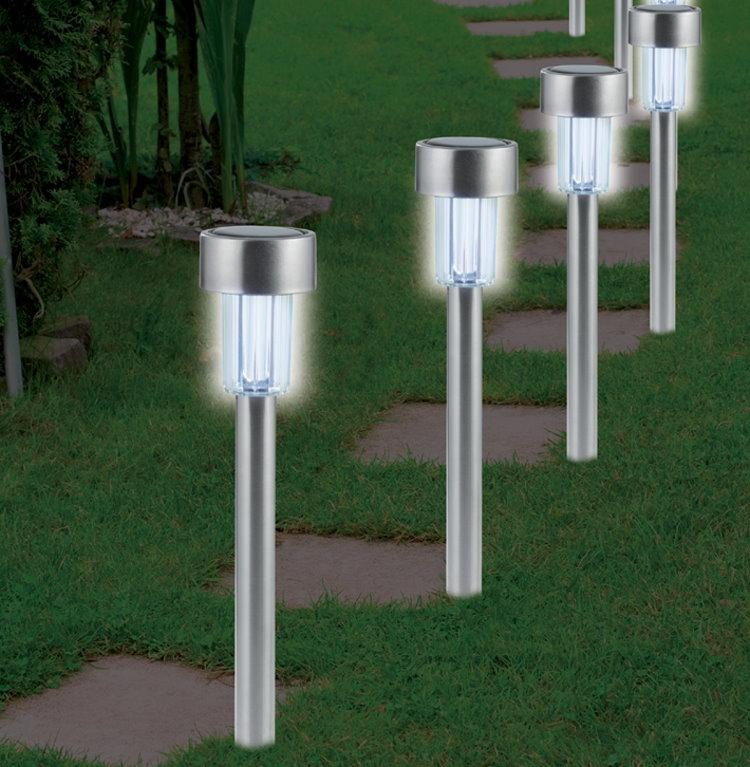4x edelstahl led solarleuchte solar garten lampe gartenleuchte farbwechsel neu ebay. Black Bedroom Furniture Sets. Home Design Ideas