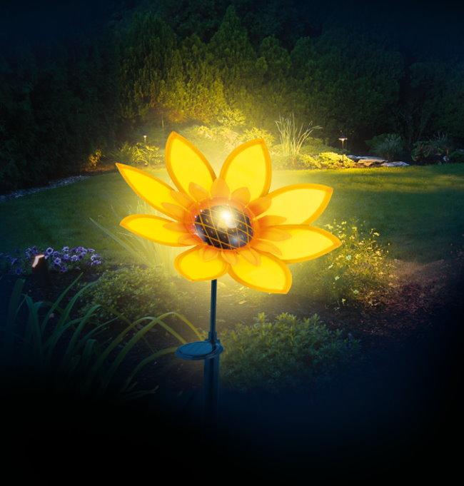 prima garden 80cm solar sonnenblume gartenlampe solarlampe. Black Bedroom Furniture Sets. Home Design Ideas
