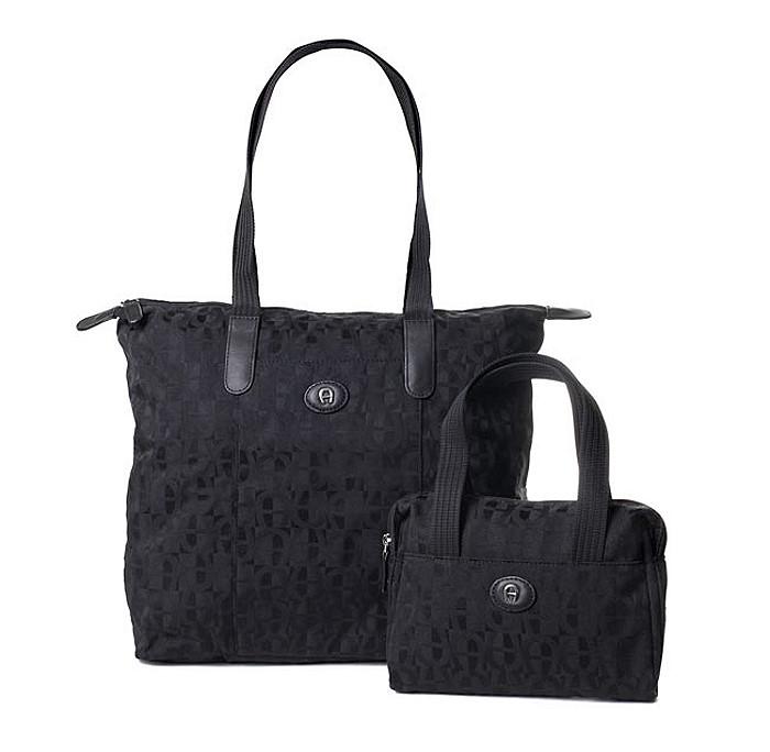 Etienne-Aigner-2in1-Shopper-Handtasche-Tasche-schwarz-Reisetasche-Umhaengetasche