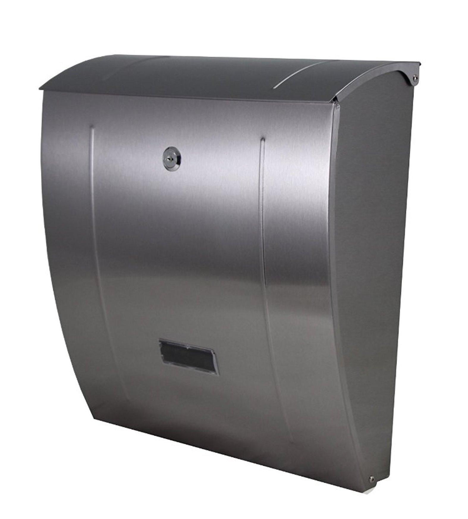 design edelstahl stahl wand briefkasten slim mit zeitungsfach postkasten mailbox ebay. Black Bedroom Furniture Sets. Home Design Ideas