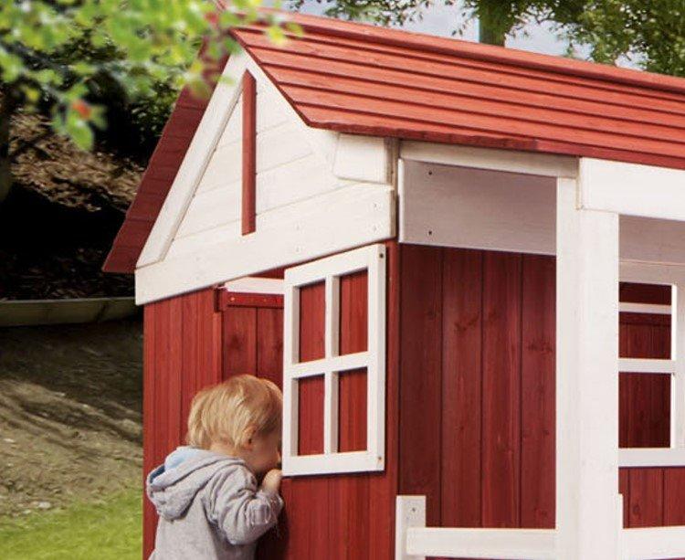 kinderspielehaus ida kinder spielhaus holzhaus gartenhaus kinderhaus rot ebay. Black Bedroom Furniture Sets. Home Design Ideas