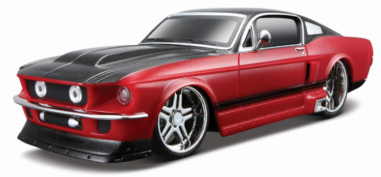 maisto r c modell auto ford mustang 39 67 in rot schwarz 1 24 neu ebay. Black Bedroom Furniture Sets. Home Design Ideas