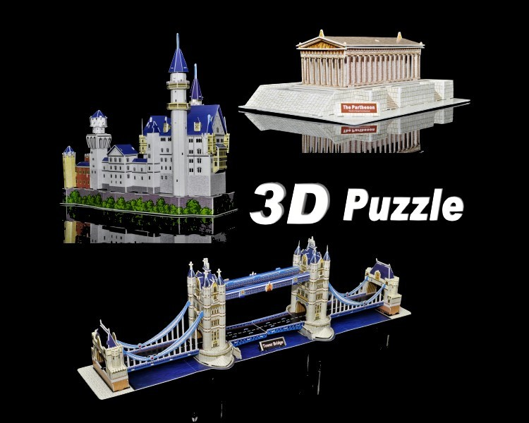 3D-Puzzle-Set-Europa-Neuschwanstein-Schloss-Parthenon-und-Tower-Bridge