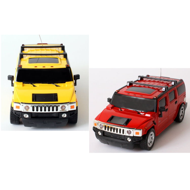 rc modell auto hummer h2 mit fernsteuerung 1 24 in gelb und rot modellauto ebay. Black Bedroom Furniture Sets. Home Design Ideas