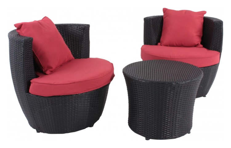 lounge set gartenm bel sitzgruppe tisch 2 sessel terrasse balkon 4 kissen ebay. Black Bedroom Furniture Sets. Home Design Ideas