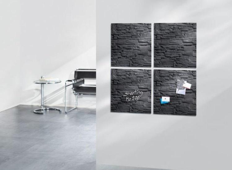 sigel gl169 glas magnet board 48x48cm magnettafel memoboard magnetwand pinnwand ebay. Black Bedroom Furniture Sets. Home Design Ideas