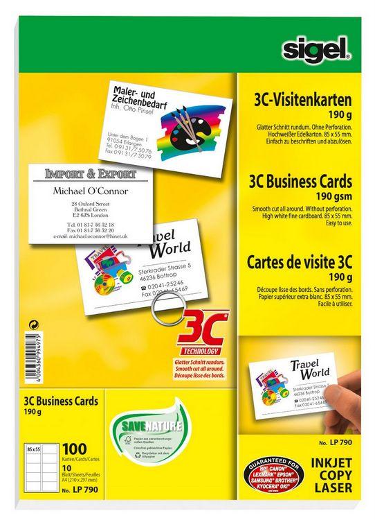 100-Stueck-Sigel-3C-Visitenkarten-Papier-LP-790-blanko-hochweiss