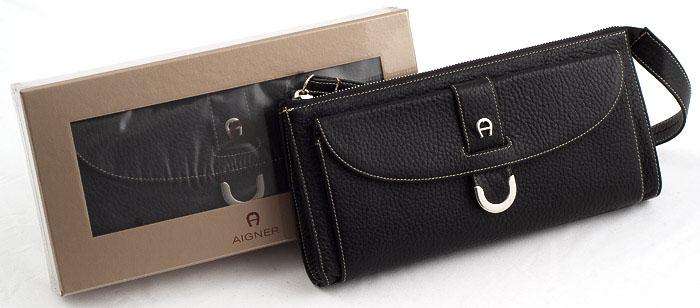 Etienne-Aigner-Elchleder-Handtasche-Leder-Tasche-Abendtasche-Clutch-schwarz