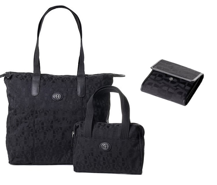 3tlg-Aigner-Luxus-Set-2in1-Shopper-Tasche-Geldboerse-Damen-Handtasche