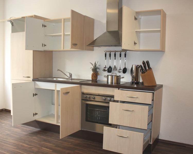 Kuche kuchenblock kompaktkuche quotnaabquot birke links neu ebay for Kompaktküche