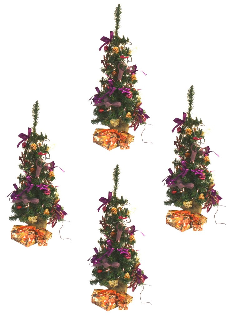 4x weihnachtsbaum geschm ckt lichterkette lila 88cm ebay. Black Bedroom Furniture Sets. Home Design Ideas