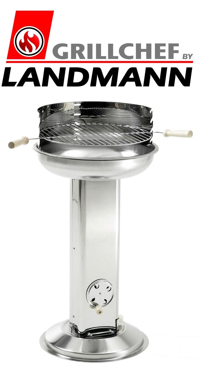 grillchef by landmann s ulengrill 84cm edelstahl grill holzkohlegrill neu ebay. Black Bedroom Furniture Sets. Home Design Ideas